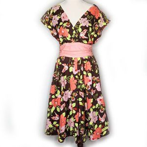 Folter Modcloth brown floral swing dress